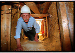 Phil Pardey a 76  year old ex miner takes to  the tunnels as Tesco's build a relief road through a peice of parkland, Epson Surrey.