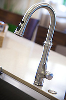 Stainless Steel Kitchen Faucet Detail Stock Photo