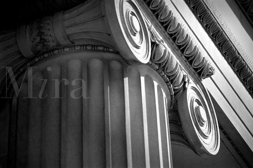 Capital on top of a column on a government building. Washington DC District of Columbia United States.