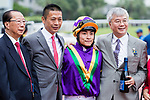 Jockey Keith Yeung Ming-lun (R2) rode #7 Perfect Match and trainer Danny Shum Chap-shing (L2) pose for photo after winning Race 1 L'Oreal Paris Handicap during Hong Kong Racing at Sha Tin Racecourse on November 04, 2018 in Hong Kong, Hong Kong. Photo by Yu Chun Christopher Wong / Power Sport Images