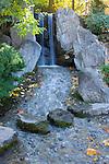 Waterfall at Nishinomiya Japanese Garden in Spokane Washington.