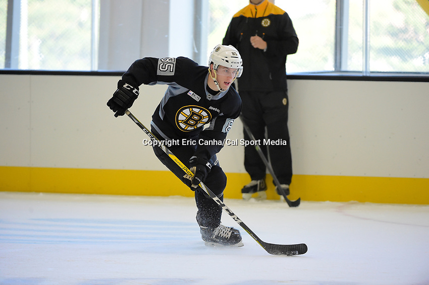 Wednesday, September 21, 2016: Boston Bruins rookie defenseman Josh Atkinson (85) skates during the Boston Bruins rookie camp at Warrior Ice Arena, in Brighton, Massachusetts. Eric Canha/CSM