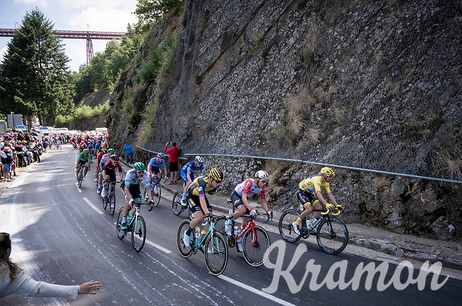 Front of the peloton with yellow jersey / GC leader Julian Alaphilippe (FRA/Deceuninck - QuickStep), Maxime Monfort (BEL/Lotto-Soudal) & (eventual stage winner) Wout van Aert (BEL/Jumbo - Visma)<br /> <br /> Stage 10: Saint-Flour to Albi (217km)<br /> 106th Tour de France 2019 (2.UWT)<br /> <br /> ©kramon