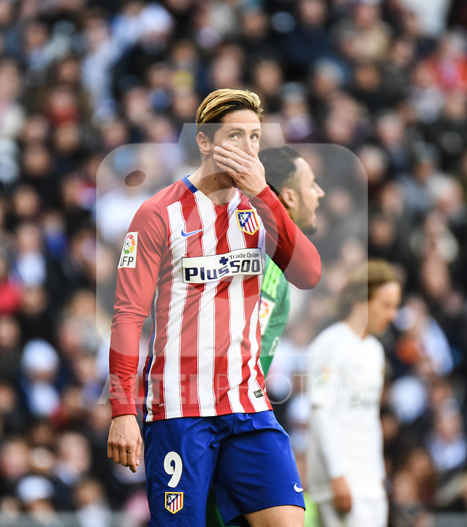 Atletico de Madrid´s Fernando Torres during 2015/16 La Liga match between Real Madrid and Atletico de Madrid at Santiago Bernabeu stadium in Madrid, Spain. February 27, 2016. (ALTERPHOTOS/Javier Comos)