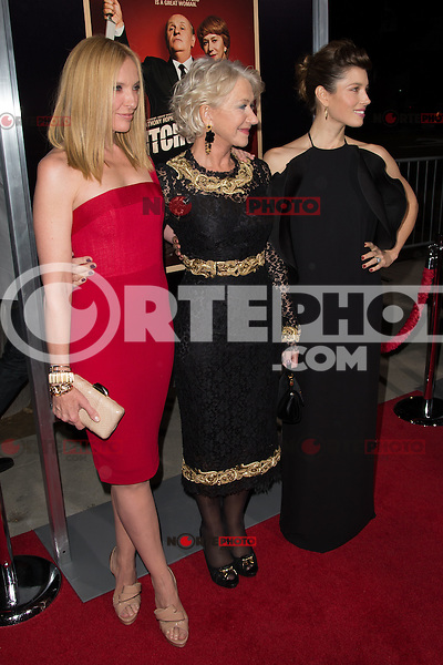 """November 20, 2012 - Beverly Hills, California - Toni Collette, Helen Mirren and Jessica Biel at the """"Hitchcock"""" Los Angeles Premiere held at the Academy of Motion Picture Arts and Sciences Samuel Goldwyn Theater. Photo Credit: Colin/Starlite/MediaPunch Inc"""