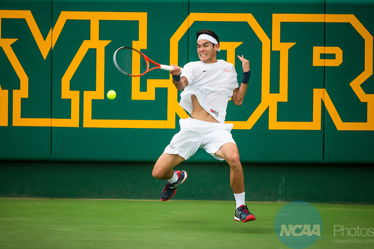 19 MAY 2015:  Thai-Son Kwiatkowski of the University of Virginia hits a forehand during his singles match against Oklahoma's Alex Ghilea at The Division I Men's Tennis Championship, held at the Hurd Tennis Center on the Baylor University campus in Waco, TX.  Virginia defeated Oklahoma 4-1 to win the team national title.  Darren Carroll/NCAA Photos