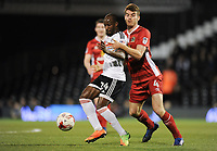 Fulham's Sone Aluko holds off the challenge from Blackburn Rovers' Tommie Hoban<br /> <br /> Photographer /Ashley WesternCameraSport<br /> <br /> The EFL Sky Bet Championship - Fulham v Blackburn Rovers - Tuesday 14th March 2017 - Craven Cottage - London<br /> <br /> World Copyright &copy; 2017 CameraSport. All rights reserved. 43 Linden Ave. Countesthorpe. Leicester. England. LE8 5PG - Tel: +44 (0) 116 277 4147 - admin@camerasport.com - www.camerasport.com