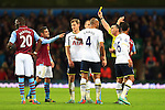 Tottenham's Jan Vertonghen is shown a yellow card - Aston Villa vs. Tottenham Hotspurs - Barclay's Premier League - Villa Park - Birmingham - 02/11/2014 Pic Philip Oldham/Sportimage