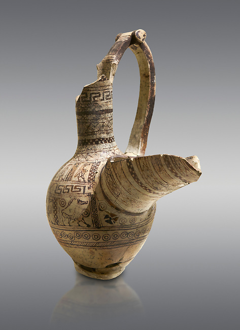 Phrygian terra cotta pottery vessel with a strainer and long pouring lip, decorated with geometric designs and images of animals and birds, from Gordion. Phrygian Collection, 9th century BC - Museum of Anatolian Civilisations Ankara. Turkey.