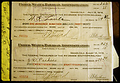 United States Railroad Adiminstration checks: #84619 to W. G. Laube for $119.320 dated July 12, 1919 and #85553 to J. D. Pacheco for $28.84 dated August 12, 1919.  These are apparently payroll checks.<br /> RGS    1919
