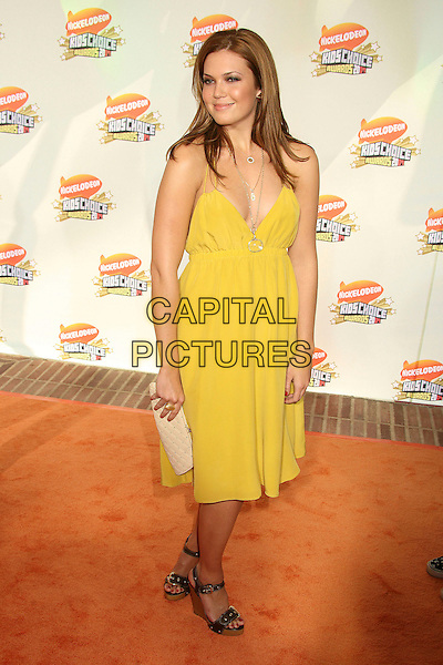 MANDY MOORE.Nickelodeon's 20th Annual Kids' Choice Awards at UCLA's Pauley Pavilion, Westwood, California , USA,  .31 March 2007..full length yellow dress gold necklaces wedges.CAP/ADM/BP.©Byron Purvis/AdMedia/Capital Pictures.