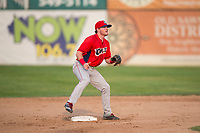 Orem Owlz second baseman Justin Jones (33) covers second base on a stolen base attempt during a Pioneer League game against the Missoula Osprey at Ogren Park Allegiance Field on August 19, 2018 in Missoula, Montana. The Missoula Osprey defeated the Orem Owlz by a score of 8-0. (Zachary Lucy/Four Seam Images)