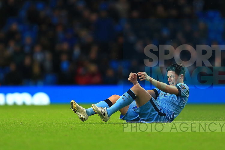 Samir Nasri of Manchester City struggles to sit up, in pain - Manchester City vs. Sunderland - Barclay's Premier League - Etihad Stadium - Manchester - 28/12/2014 Pic Philip Oldham/Sportimage