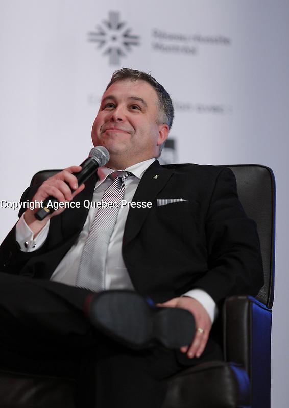 Conference de Sebastien Proulx, Ministre de l&rsquo;Education, du Loisir et du Sport, Ministre responsable de la region de la Capitale-Nationale, a la tribune de la Chambre de Commerce du Montreal metropolitain, le Vendredi 16 f&eacute;vrier 2018, au Sheraton.<br /> <br /> PHOTO :  Agence Quebec Presse