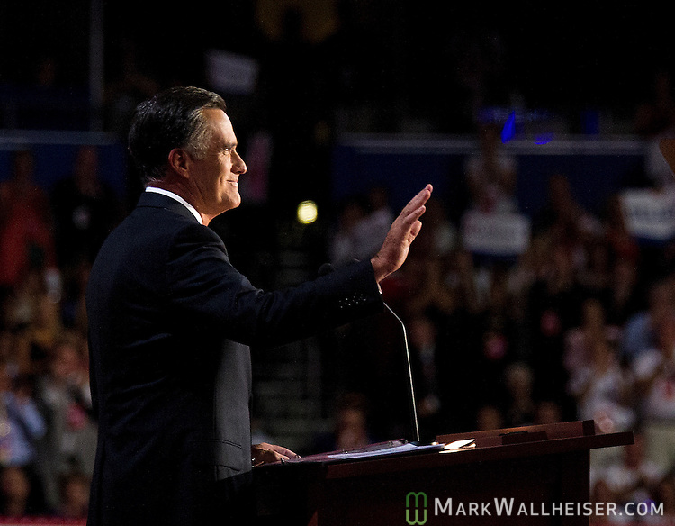 Republican presidential nominee Mitt Romney delivers the keynote speech at the 2012 Republican National Convention at the Tampa Bay Times Forum in Tampa on August 30, 2012.
