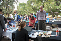 Occidental College's Career Services office hosts the Oxy Fall Career Fair. Managers and recruiters from local and national organizations and companies were on-campus looking to hire seniors for full-time professional jobs after graduation, and all students for fall, spring, and summer internships. Graduate School recruiters were also in attendance, Oct. 3, 2017 in the Academic Quad.<br /> (Photo by Marc Campos, Occidental College Photographer)