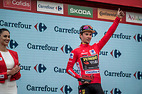 red jersey (overall leader) Primoz Roglic (SVK/Jumbo-Visma) on the podium<br /> <br /> Stage 19: Ávila to Toledo (165km)<br /> La Vuelta 2019<br /> <br /> ©kramon