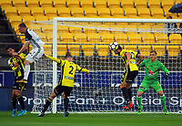 Wellington's Andrew Durante head a defensive corner kick away during the A-League football match between Wellington Phoenix and Melbourne Victory at Westpac Stadium in Wellington, New Zealand on Friday, 10 January 2018. Photo: Dave Lintott / lintottphoto.co.nz