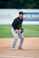 Dayton Dragons third baseman Alejo Lopez (4) during a game against the Beloit Snappers on July 22, 2018 at Pohlman Field in Beloit, Wisconsin.  Dayton defeated Beloit 2-1.  (Mike Janes/Four Seam Images)