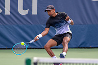 Washington, DC - August 3, 2019: Michael Venus (NZL) returns a serve during the  Men Doubles semi finals at William H.G. FitzGerald Tennis Center in Washington, DC  August 3, 2019.  (Photo by Elliott Brown/Media Images International)