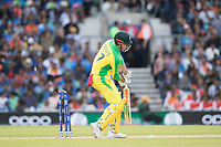 Marcus Stones (Australia) is bowled by Bhuvneshwar Kumar (India) during India vs Australia, ICC World Cup Cricket at The Oval on 9th June 2019