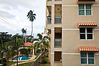 View of a pool and condo across from the Balneario de Rincón in Rincón, Puerto Rico on 30th December 2011.