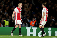 5th November 2019; Stamford Bridge, London, England; UEFA Champions League Football, Chelsea Football Club versus Ajax; Donny van de Beek of Ajax celebrates his goal with Daley Blind for 1-4 in the 55th minute - Editorial Use