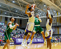 University at Albany men's basketball defeats Binghamton University 71-54  at the  SEFCU Arena, Feb. 27, 2018. Block on the shot of Fard Muhammad (#0) by Alex Foster (#34). (Bruce Dudek / Cal Sport Media/Eclipse Sportswire)