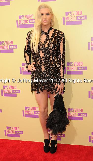 LOS ANGELES, CA - SEPTEMBER 06: Ke$ha arrives at the 2012 MTV Video Music Awards at Staples Center on September 6, 2012 in Los Angeles, California.