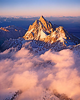 Grand Teton rising above the Clouds at Sunset, Grand Teton National Park, Wyoming