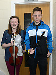 Niamh Taaffe and Honan Dawe from Dundalk who took part in the Louth Fleadh competitions in St. Oliver's Community College Drogheda. Photo:Colin Bell/pressphotos.ie