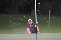 Tommy Fleetwood (ENG) chipping out of a bunker onto the 15th green during Round 3 of the UBS Hong Kong Open, at Hong Kong golf club, Fanling, Hong Kong. 25/11/2017<br /> Picture: Golffile | Thos Caffrey<br /> <br /> <br /> All photo usage must carry mandatory copyright credit     (&copy; Golffile | Thos Caffrey)