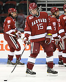 John Caldwell (Harvard - 15) - The Boston University Terriers defeated the visiting Harvard University Crimson 5-2 on Saturday, January 15, 2011, at Agganis Arena in Boston, Massachusetts.