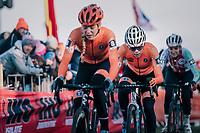 Ceylin Del Carmen Alvarado (NED) following race leader Inge van der Heijden (NED) closely <br /> <br /> Women&rsquo;s U23 race<br /> <br /> UCI 2019 Cyclocross World Championships<br /> Bogense / Denmark<br /> <br /> &copy;kramon