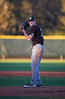 St. Bonaventure Bonnies relief pitcher T.J. Baker (32) gets ready to deliver a pitch during a game against the Dartmouth Big Green on February 25, 2017 at North Charlotte Regional Park in Port Charlotte, Florida.  St. Bonaventure defeated Dartmouth 8-7.  (Mike Janes/Four Seam Images)