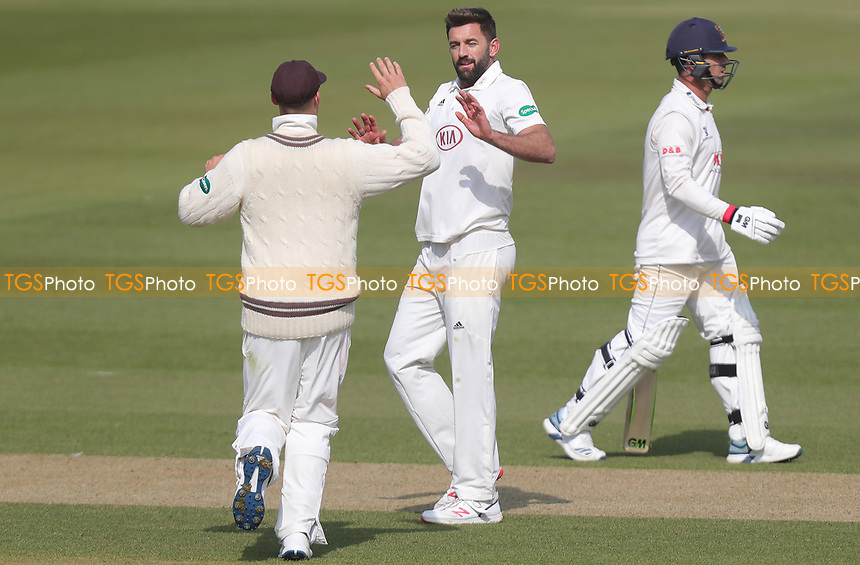 Liam Plunkett of Surrey celebrates taking the wicket of Ryan ten Doeschate during Surrey CCC vs Essex CCC, Specsavers County Championship Division 1 Cricket at the Kia Oval on 13th April 2019