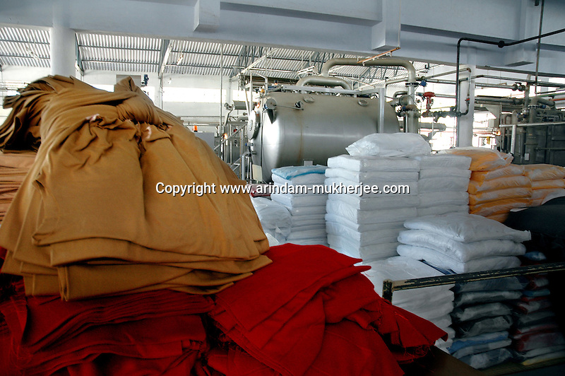 Raw materials dumped at Prem Industry's  dyeing factory in Tirupur, Tamilnadu. After lifting of quota system in textile export on 1st january 2005. Tirupur has become the biggest foreign currency earning town of India.