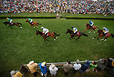 USA, Tennessee, Nashville, Iroquois Steeplechase, horses pass under the wire on lap two of the seventh and final race