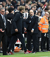 Liverpool manager Jurgen Klopp and Newcastle United manager Rafa Benitez at the final whistle<br /> <br /> Photographer Rich Linley/CameraSport<br /> <br /> The Premier League -  Newcastle United v Liverpool - Sunday 1st October 2017 - St James' Park - Newcastle<br /> <br /> World Copyright &copy; 2017 CameraSport. All rights reserved. 43 Linden Ave. Countesthorpe. Leicester. England. LE8 5PG - Tel: +44 (0) 116 277 4147 - admin@camerasport.com - www.camerasport.com