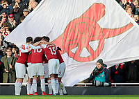 Arsenal' celebrate after Pierre-Emerick Aubameyang scores his side's second goal <br /> <br /> Photographer David Shipman/CameraSport<br /> <br /> The Premier League - Arsenal v Burnley - Saturday 22nd December 2018 - The Emirates - London<br /> <br /> World Copyright &copy; 2018 CameraSport. All rights reserved. 43 Linden Ave. Countesthorpe. Leicester. England. LE8 5PG - Tel: +44 (0) 116 277 4147 - admin@camerasport.com - www.camerasport.com