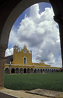 The Convento de San Antonio de Padua and the Santuario de la Virgen de Izamal, Izamal, Yucatan, Mexico. This 16th century convent was built on the remains of an ancient Mayan temple.