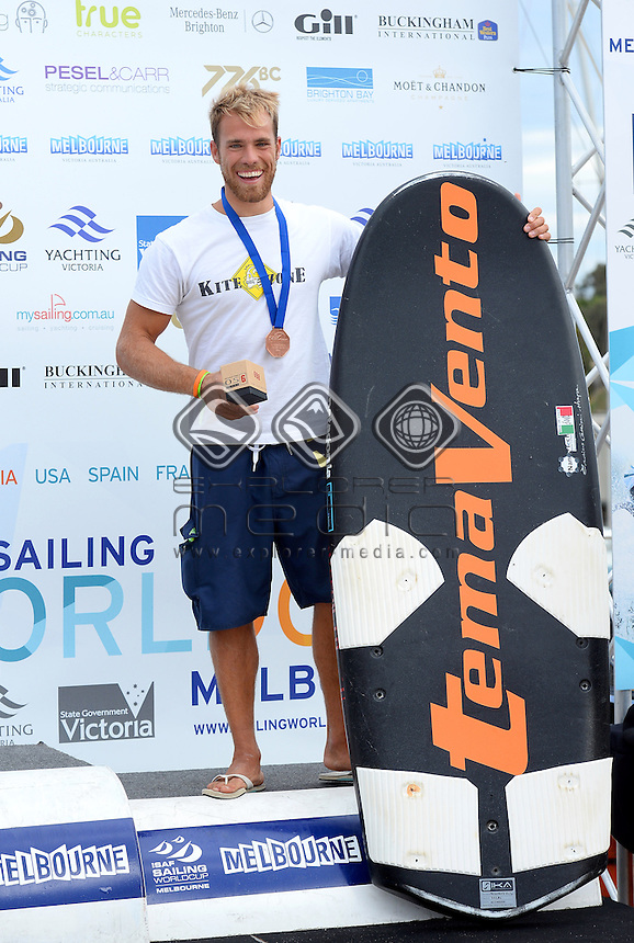 Kiteboard - M / Alejandro CLIMENT HERNANDEZ (ESP)<br /> 2013 ISAF Sailing World Cup - Melbourne<br /> Sail Melbourne - The Asia Pacific Regatta<br /> Sandringham Yacht Club, Victoria<br /> December 1st - 8th 2013<br /> &copy; Sport the library / Jeff Crow