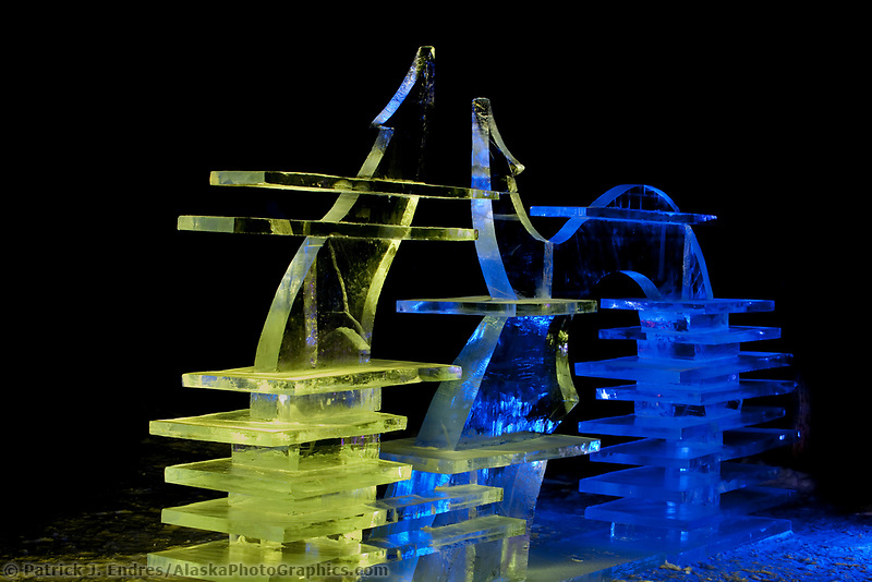 "Single block abstract sculpture titled ""Ice Tomography"" for the 2009 World Ice Art Championships in Fairbanks, Alaska. By Mongolian sculptors Dorjsuren Lkhagvadorj and Munkh-Erdene Tsagaan."
