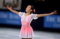 Mao Asada of Japan skates on way to winning gold in ladies figure skating at the Trophee Eric Bompard competition in Paris, France, November 19, 2005.  Asada is just 15 years old and although she will not compete at the Torino 2006 Olympics, she is considered to be one of the best in the world and a bright new star in Japanese women's figure skating.  (Photo/Tom Theobald)