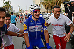 Elia Viviani (ITA) Quick-Step Floors wins Stage 2 of the 101st edition of the Giro d'Italia 2018 running 167km from Haifa to Tel Aviv, Israel. 5th May 2018.<br /> Picture: LaPresse/Marco Alpozzi | Cyclefile<br /> <br /> <br /> All photos usage must carry mandatory copyright credit (&copy; Cyclefile | LaPresse/Marco Alpozzi)