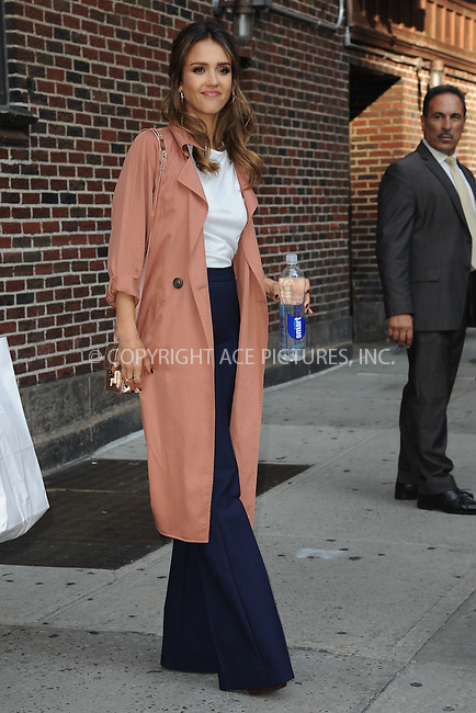 www.acepixs.com<br /> September 8, 2016 New York City<br /> <br /> Jessica Alba after taping an appearance on the Late Show with Stephen Colbert on September 8, 2016 in New York City.<br /> <br /> <br /> Credit: Kristin Callahan/ACE <br /> <br /> <br /> Tel:  (646) 769 0430<br /> e-mail: info@acepixs.com