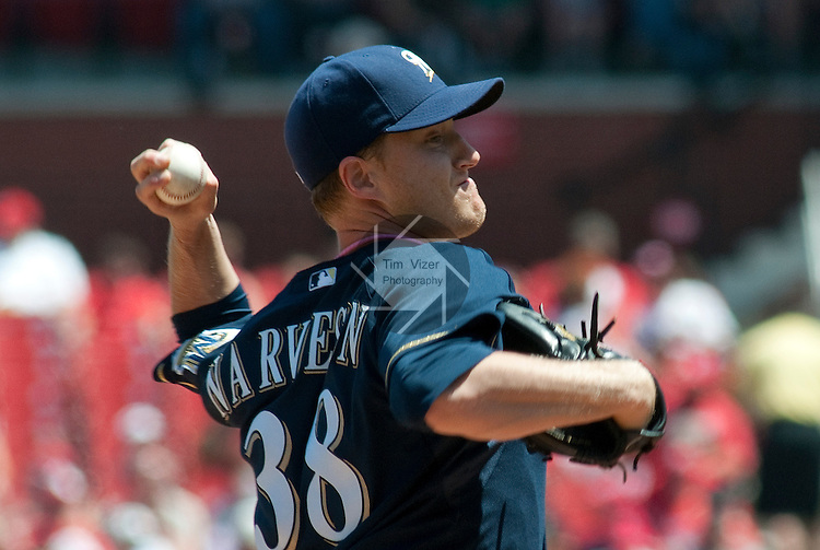 08 May 2011                             Milwaukee Brewers starting pitcher Chris Narveson (38) throws early in the game.  The St. Louis Cardinals defeated the Milwaukee Brewers 3-1 on Sunday May 8, 2011 in the final game of a three-game series at Busch Stadium in downtown St. Louis.