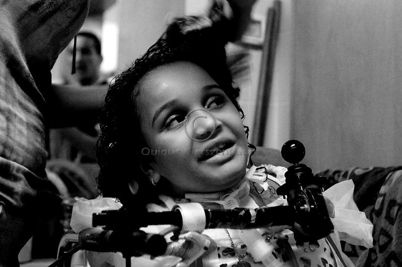 Maria Aman gets ready for her 6s birthday party, in Alin, a rehabilitation hospital in Jerusalem August 30, 2007. An Israeli rehabilitation centre is defying an order from the Defense Ministry to transfer Maria, who was paralysed from the neck down after Israeli attack on militants in Gaza in May last year, to a Palestinian hospital in the West Bank. She had been traveling in a vehicle with her mother, grandmother and older brother, who were killed. Photo by Quique Kierszenbaum