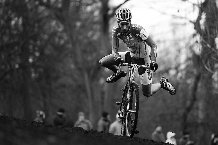 PICTURE BY ALEX BROADWAY /SWPIX.COM - Cyclo-Cross - 2013 British National Cyclo-Cross Championships  - Peel Park, Bradford, England  - 13/01/13 - Ian Field of Hargroves Cycles / Specialized / Trant competes in the Elite Men' Championship.