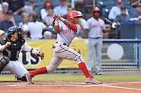 Hagerstown Suns second baseman Wilmer Difo #6 swings at a pitch during a game against the Asheville Tourists at McCormick Field on September 9, 2014 in Asheville, North Carolina. The Suns defeated the Tourists 4-3. (Tony Farlow/Four Seam Images)